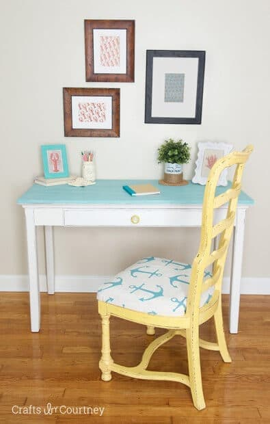 Coastal Desk Makeover from Crafts By Courtney featured in the Summer Spotlight