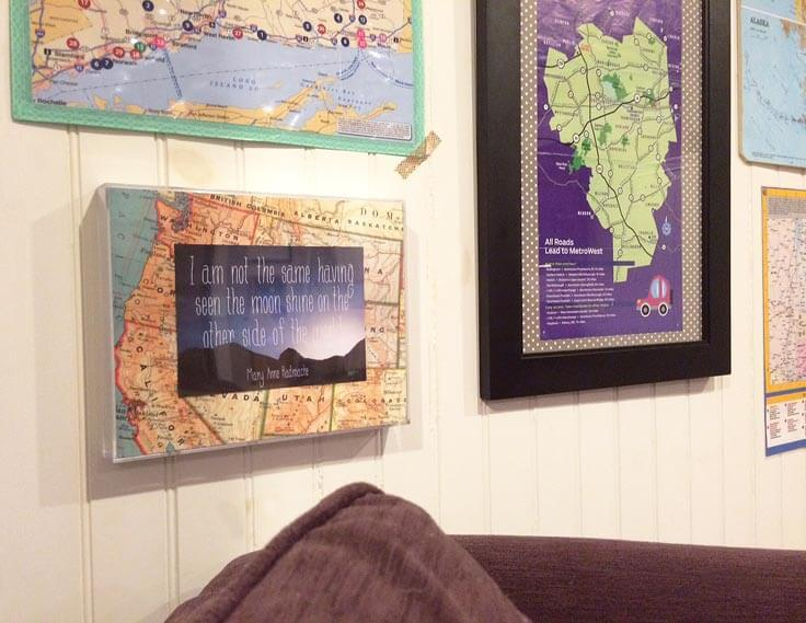 Use travel related quotes and art for a gallery style map wall