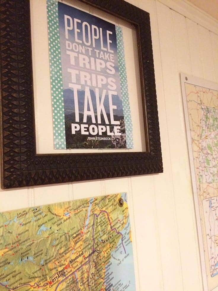 Use travel and trip quotes for a gallery map wall
