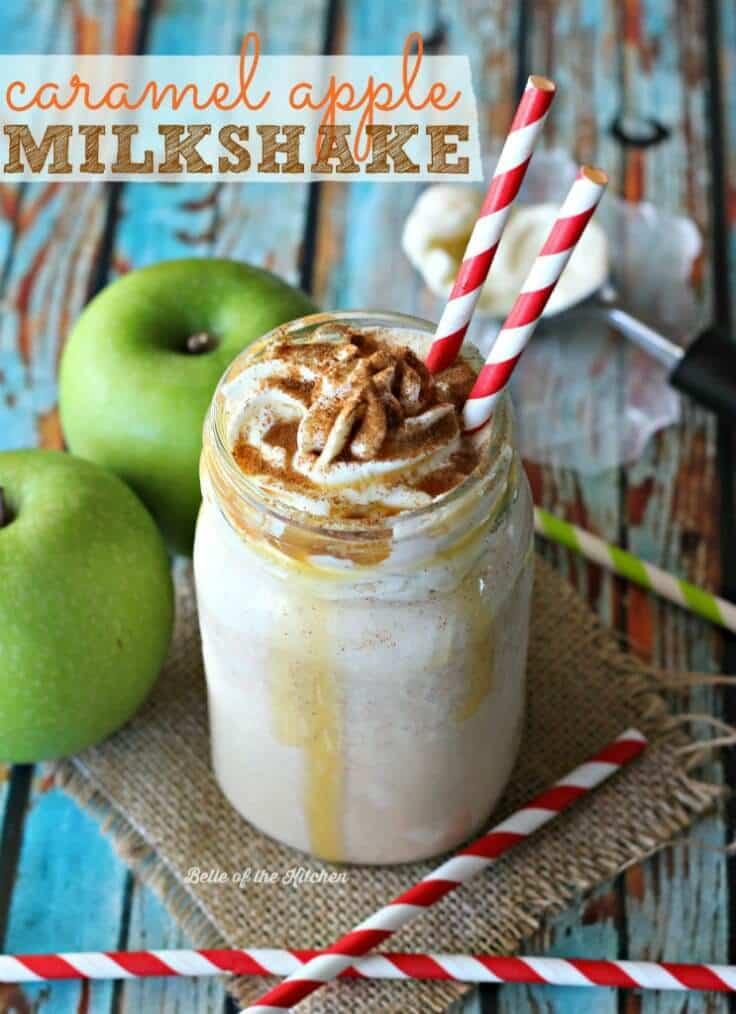 Caramel Apple Milkshake – Belle of the Kitchen - Caramel Apple Dessert Ideas: 20 Delicious Recipes featured on Kenarry.com