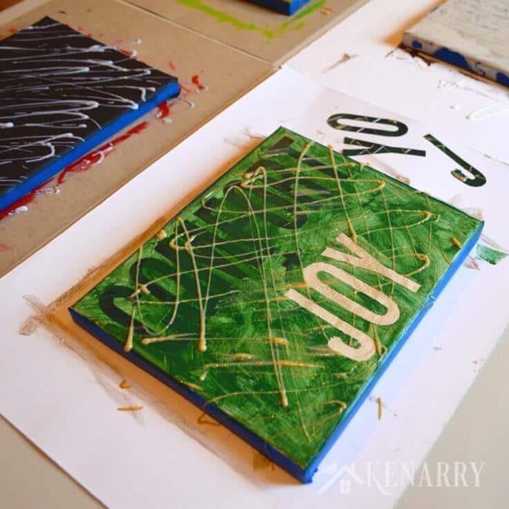 Kid S Canvas Art Painting An Easy Christmas Gift Idea