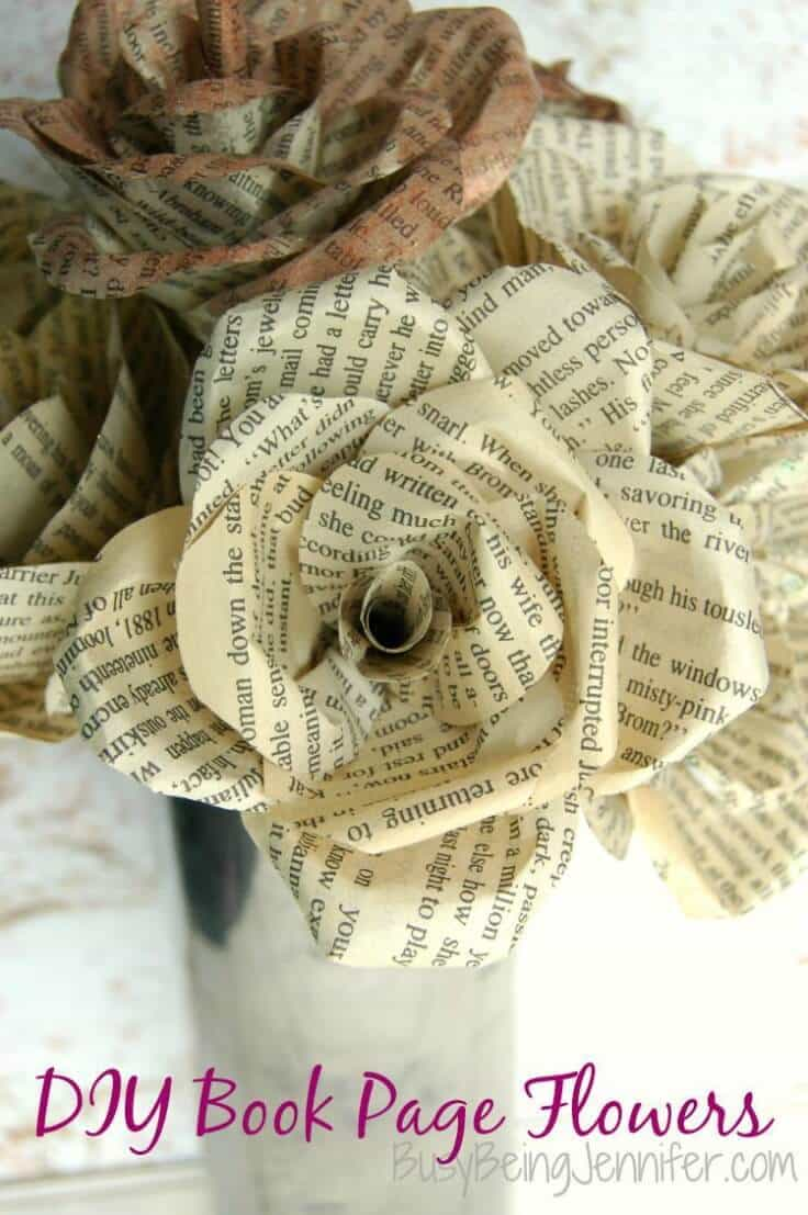 DIY Book Page Flowers – Busy Being Jennifer featured at Think and Make Thursday on Kenarry.com