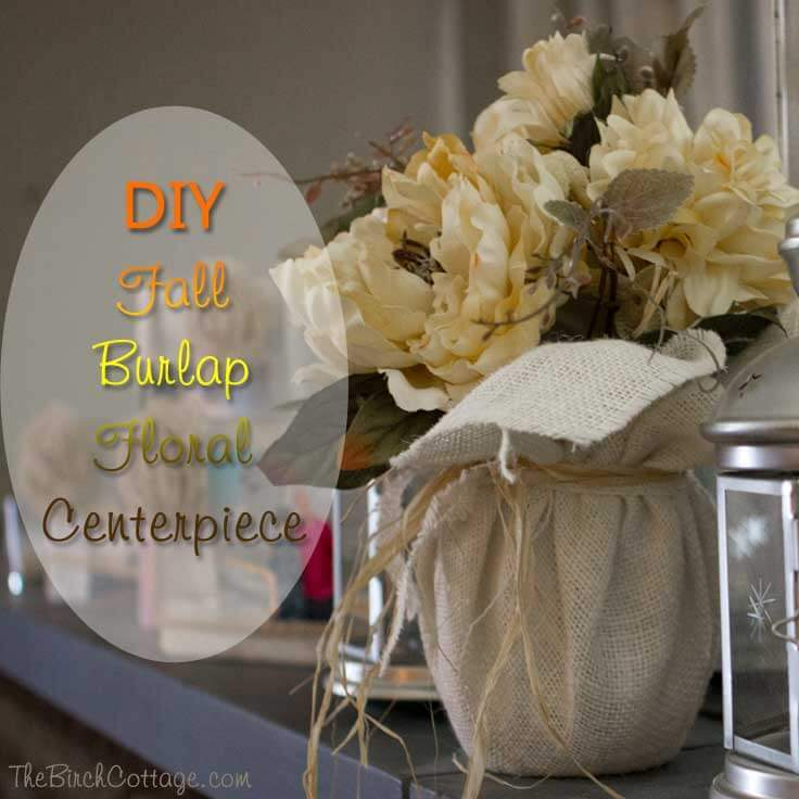DIY Fall Burlap Floral Centerpiece