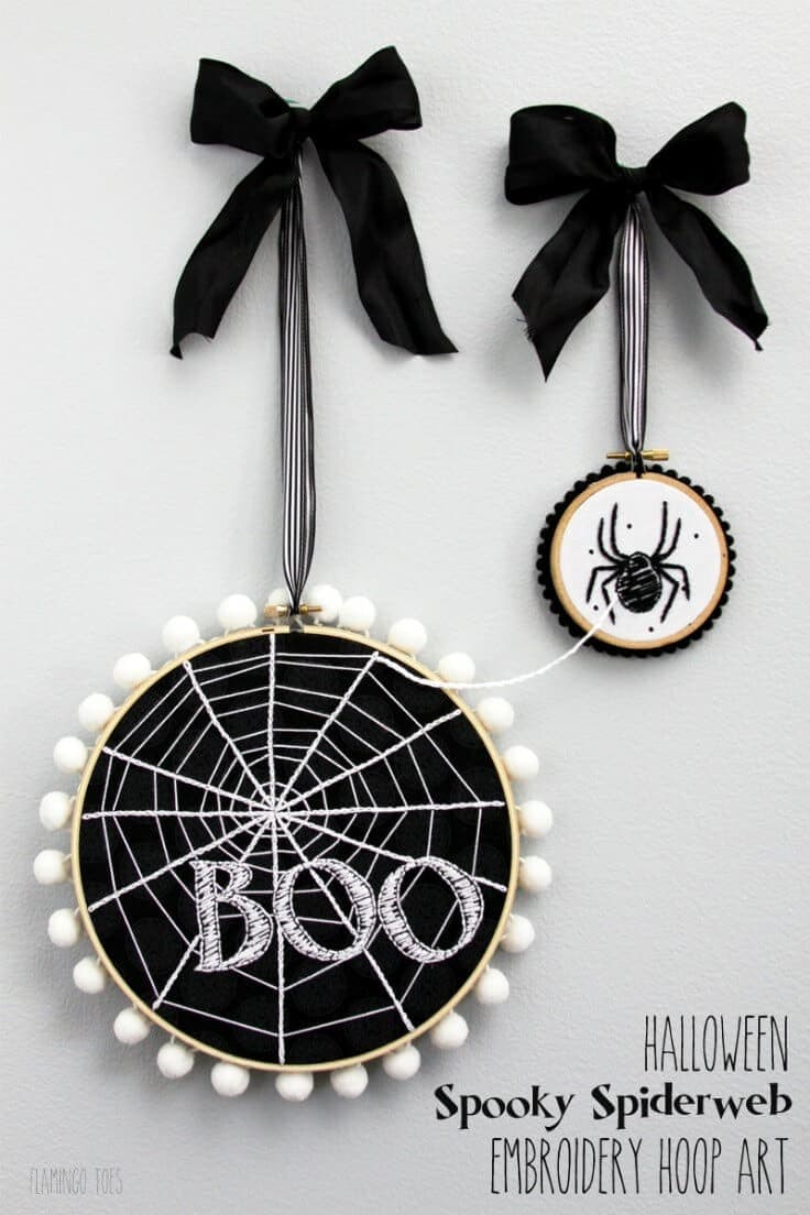 Halloween Spooky Spider Web Hoop Art – Flamingo Toes featured at Think and Make Thursday on Kenarry.com