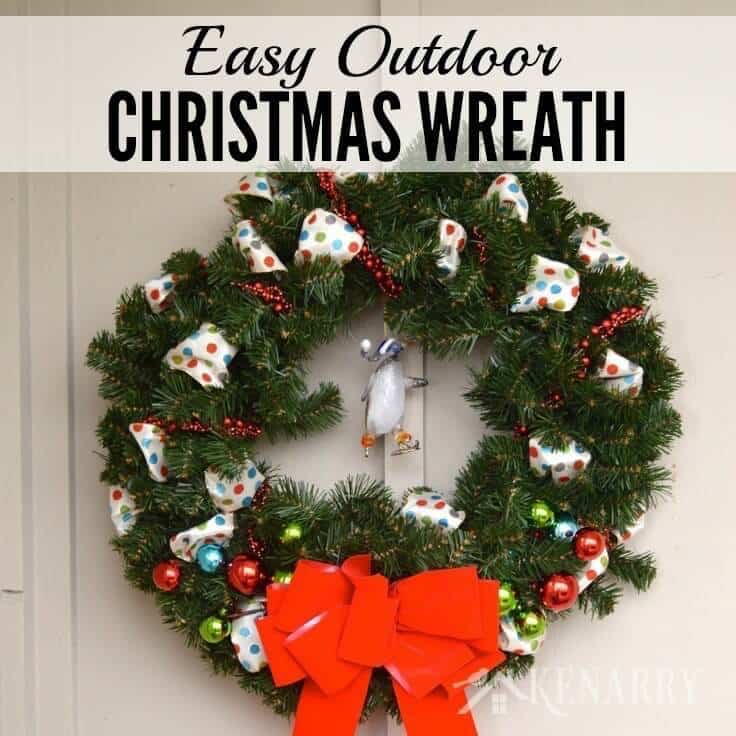 love this idea to decorate an outdoor christmas wreath with ribbon beads and ornaments