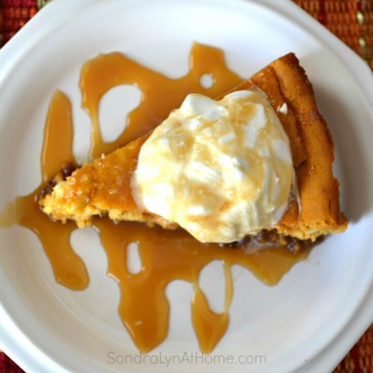 Pumpkin Cheesecake with Salted Caramel Sauce- --Sondra Lyn atHome.com