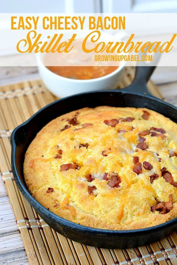 Easy Cheesy Bacon Cornbread Recipe – Growing Up Gabel featured at Think and Make Thursday on Kenarry.com