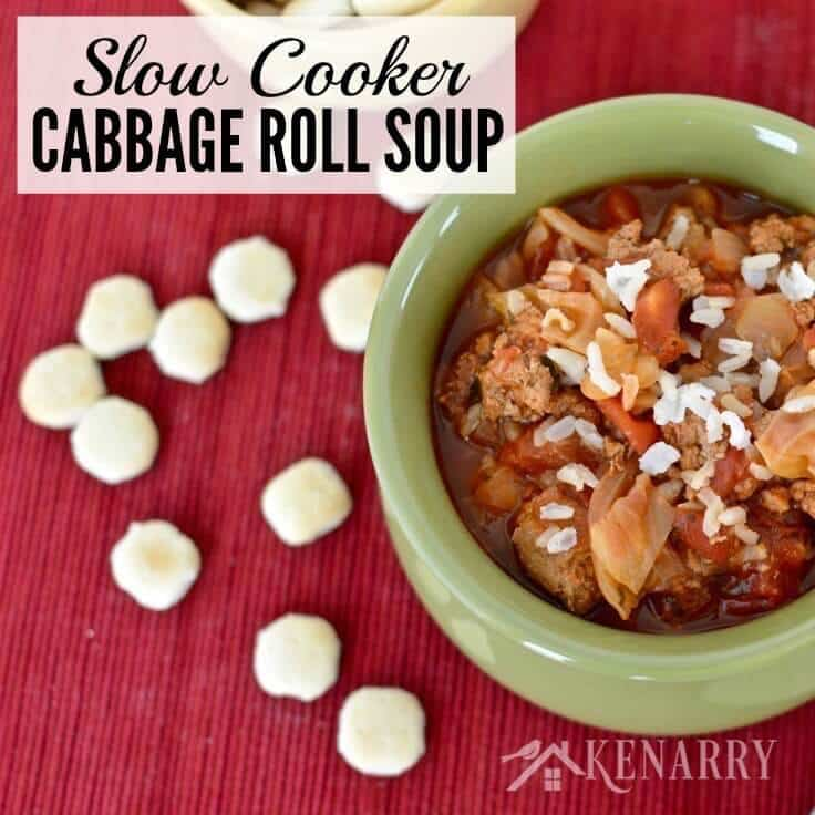 Yum! This Slow Cooker Cabbage Roll Soup is an easy dinner idea. It's a delicious Crockpot recipe made with ground turkey, rice and chopped cabbage, perfect for chilly fall and winter days. #soup #fallrecipes #kenarry