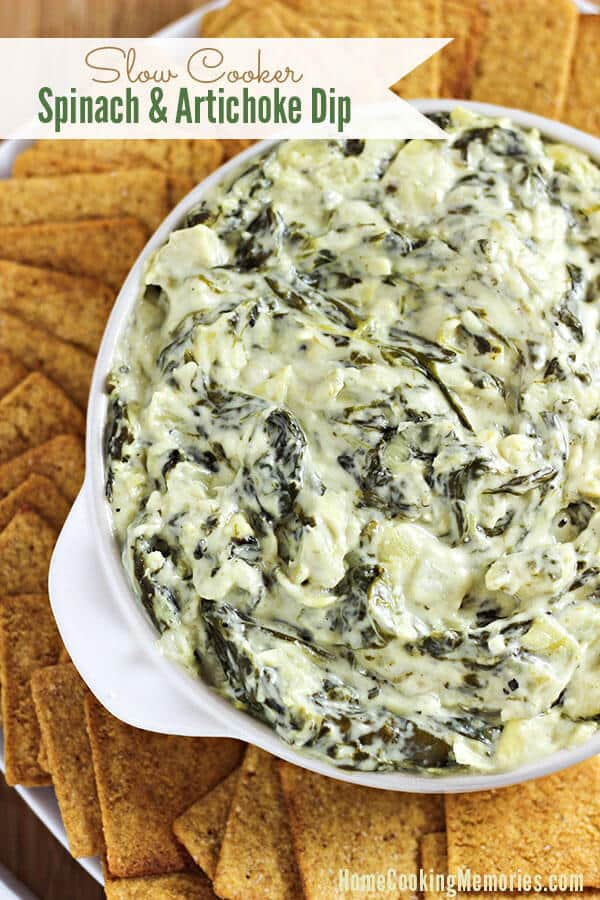 Slow Cooker Spinach and Artichoke Dip – Home Cooking Memories featured at Think and Make Thursday on Kenarry.com