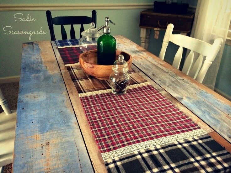 Fall Flannel (Shirt) and Lace Table Runner – Sadie Seasongoods featured at Think and Make Thursday on Kenarry.com