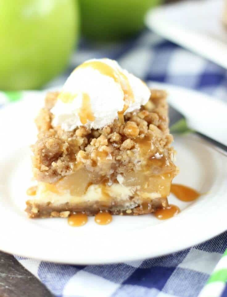 Caramel Apple Cheesecake Streusel Bars with Gingersnap Walnut Crust – The Gold Lining Girl - Caramel Apple Dessert Ideas: 20 Delicious Recipes featured on Kenarry.com