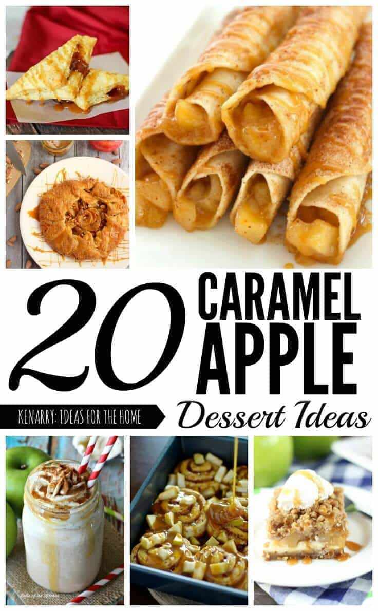 These caramel apple dessert ideas are perfect for fall! So many great recipes for sweet treats to enjoy at a dinner party or potluck. Find the collection at Kenarry.com.
