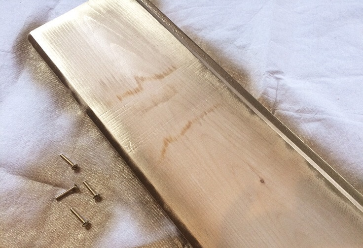 painted wood tray with gold spray paint