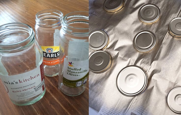 upcycled glass jars with gold spray painted covers