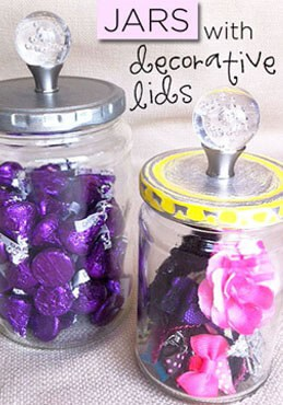 upcycled jars with decorative lids from Greco Design