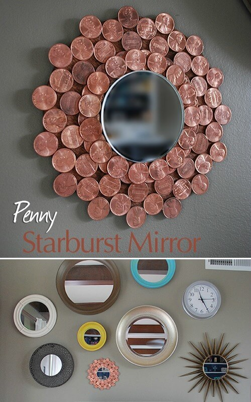 Penny Starburst Mirror – Real Happy Space featured at Think and Make Thursday on Kenarry.com