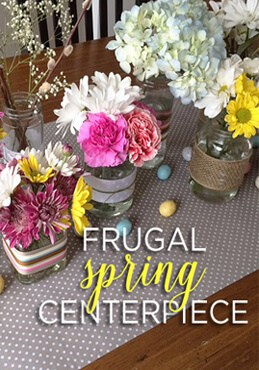 create a frugal spring centerpiece with recycled glass jars and ribbon from Greco Design