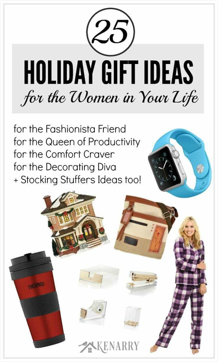 Tons of great holiday gift ideas for the women in your life including the fashionista friend, the decorating diva, the queen of productivity, the comfort craver plus stocking stuffer ideas too. You're sure to find the perfect Christmas present from this holiday gift guide.