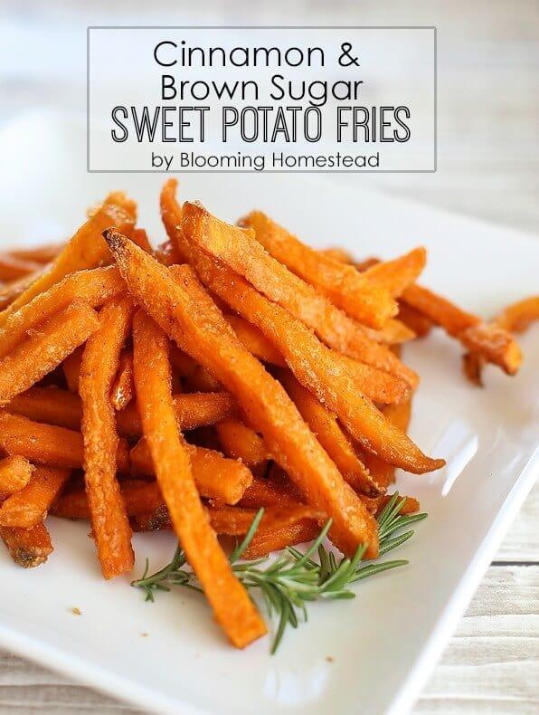 Cinnamon and Brown Sugar Sweet Potato Fries - Blooming Homestead featured on Kenarry.com