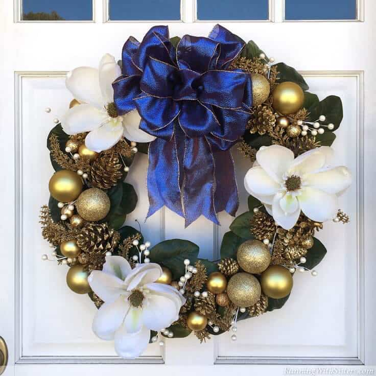 Designer Holiday Wreath: How To Make A Magnolia and Glittered Pinecone Wreath