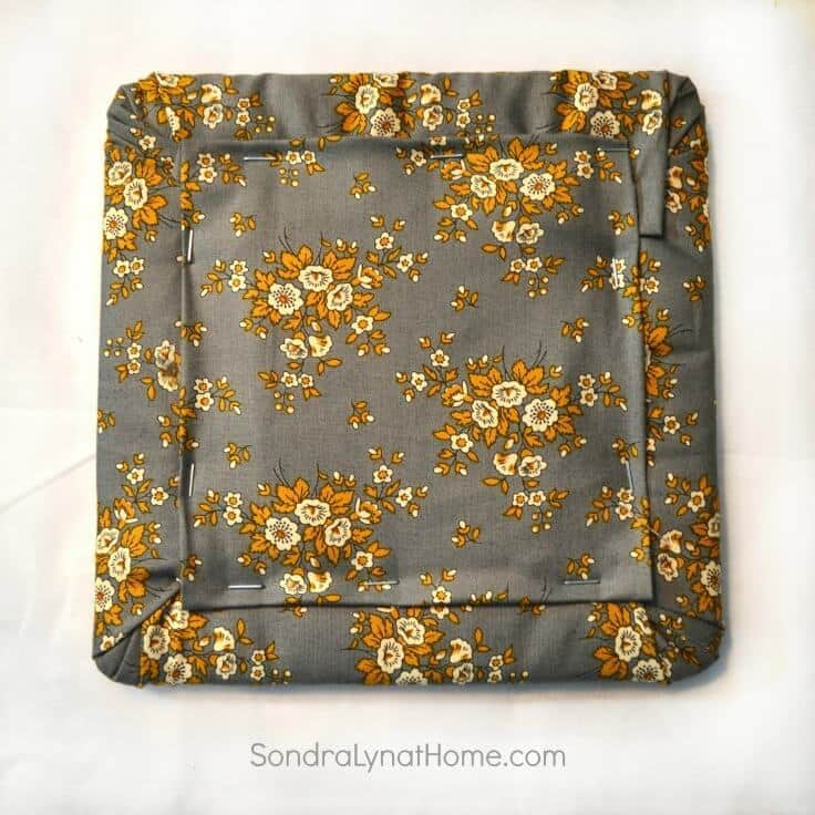 DIY Fabric Photo Frame - back of frame - Sondra Lyn at Home.com