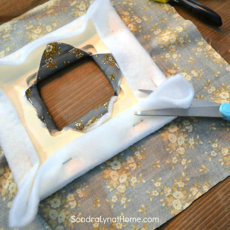 DIY Fabric Photo Frame - clipping corners -Sondra Lyn at Home.com