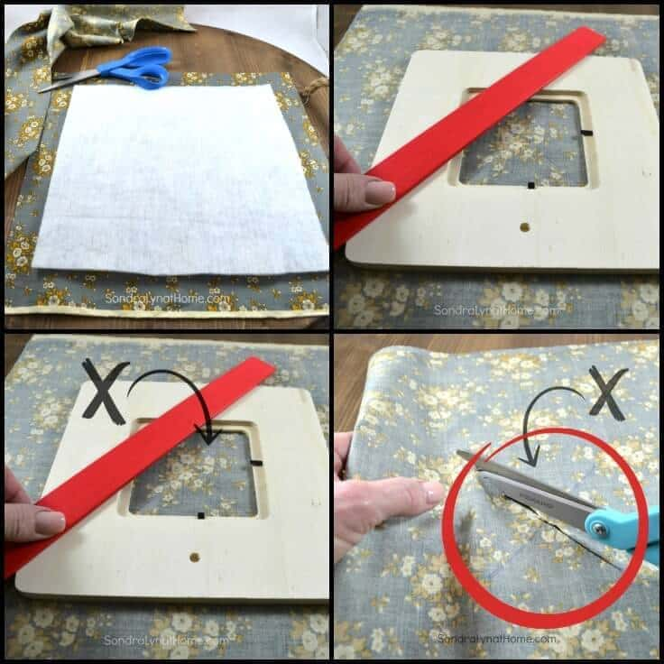 DIY Fabric Photo Frame - finding center and cutting -Sondra Lyn at Home.com