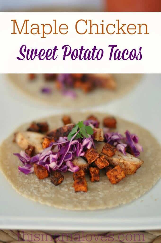 Maple Glazed Chicken and Sweet Potato Tacos Recipe - This Mama Loves featured on Kenarry.com
