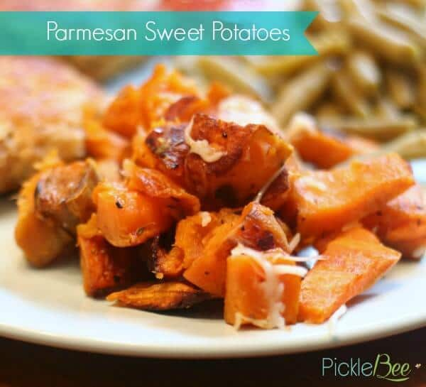Parmesan Sweet Potatoes - Pickle Bee featured on Kenarry.com