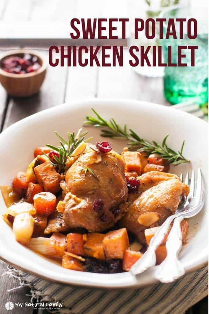 Sweet Potato Chicken Skillet Recipe - My Natural Family featured on Kenarry.com