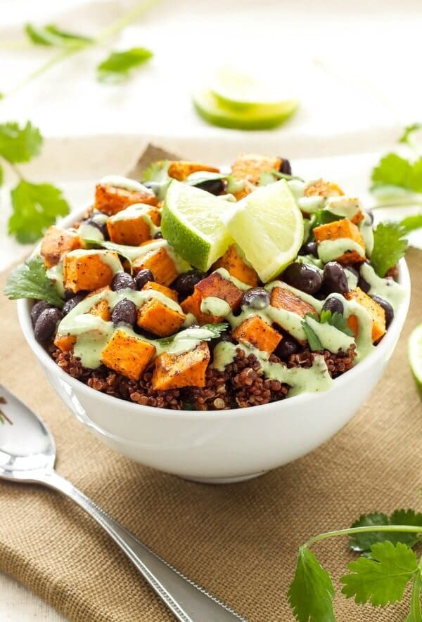 Sweet Potato and Black Bean Quinoa Bowls – Spoonful of Flavor featured on Kenarry.com