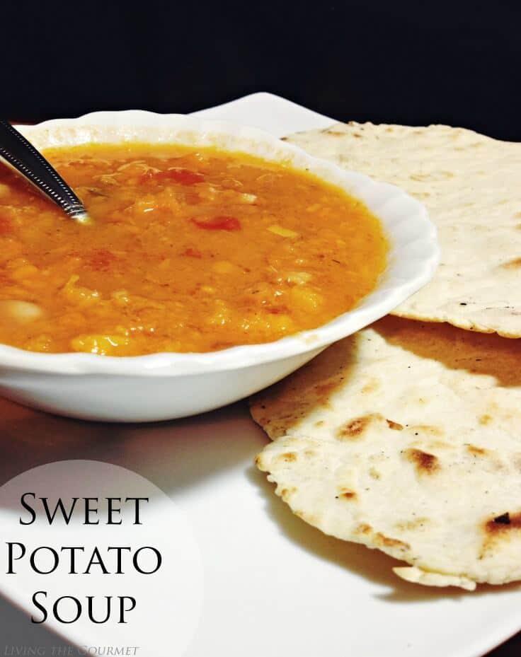 Sweet Potato Soup - Living the Gourmet featured on Kenarry.com