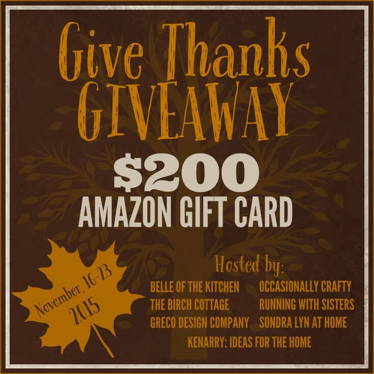 Give Thanks Giveaway for a $200 Amazon e-Gift Card, November 16-23, 2015