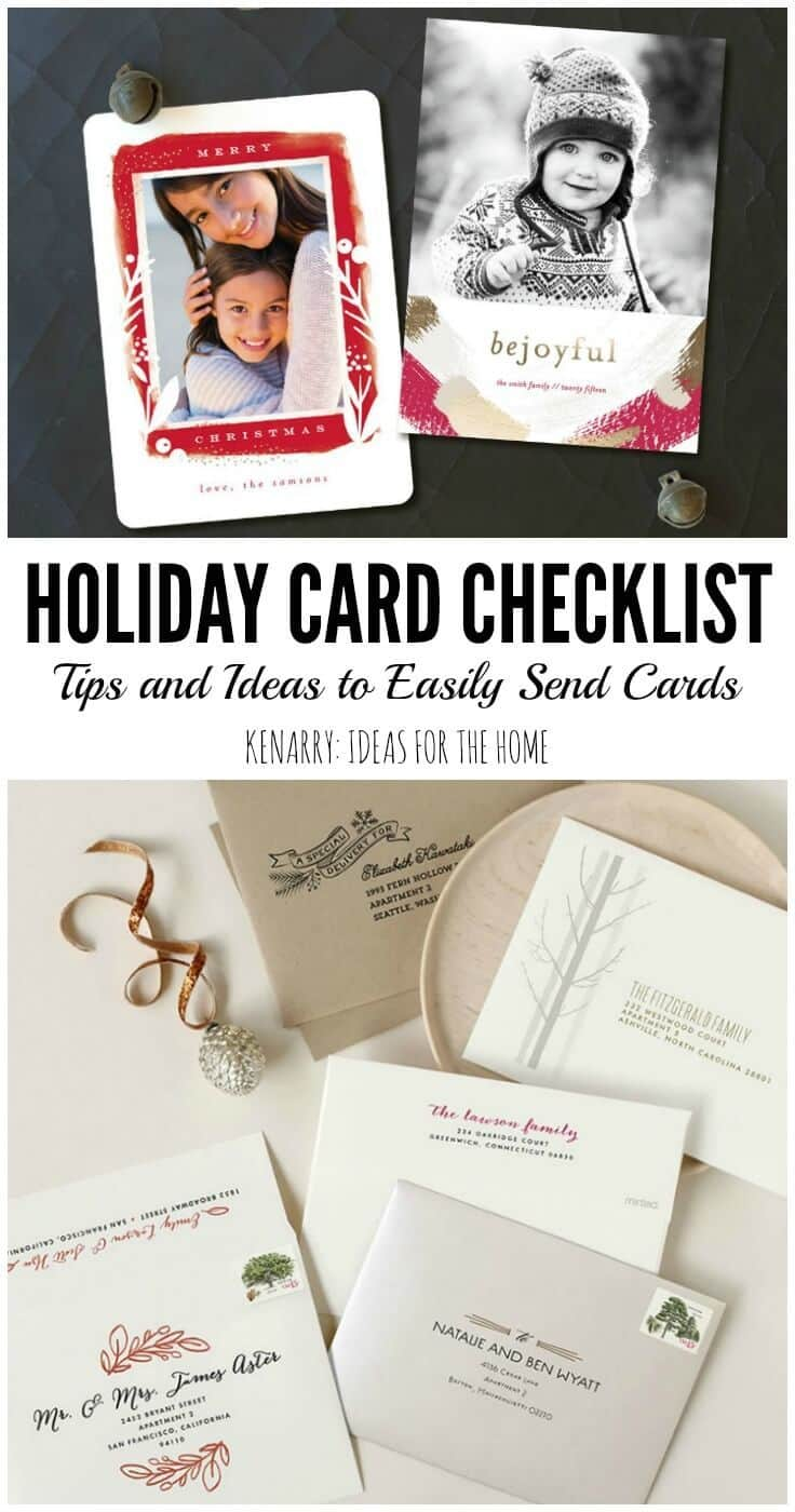 Holiday Card Checklist with great tips and ideas to make it easier to send holiday cards to friends and family at Christmas time - Kenarry.com