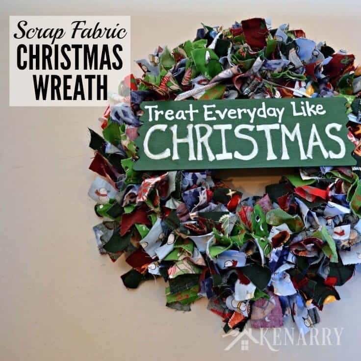 Scrap Fabric Christmas Wreath + Handmade Gift Ideas