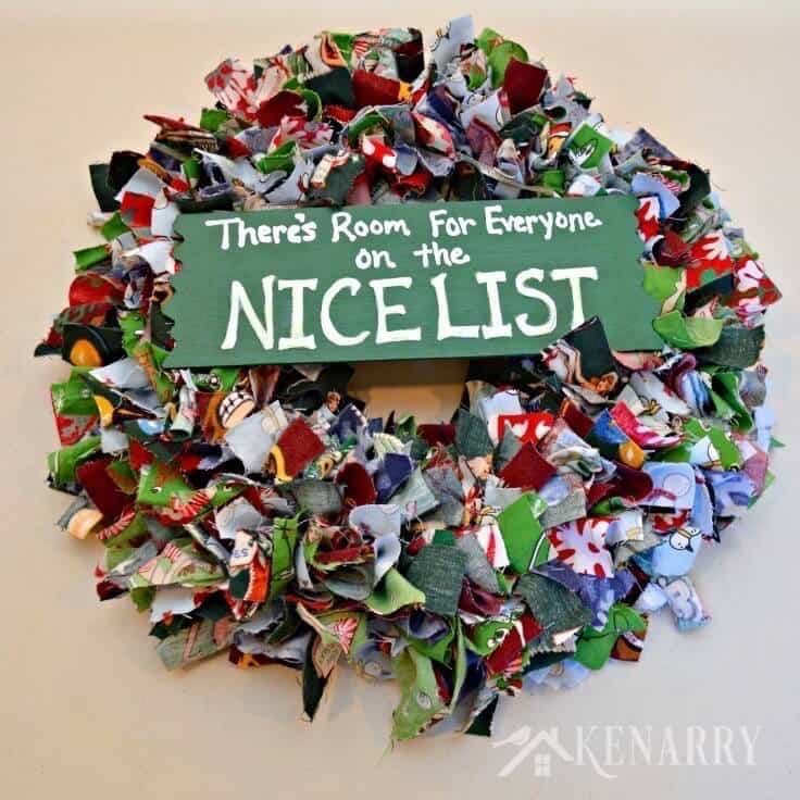 Scrap Fabric Christmas Wreath