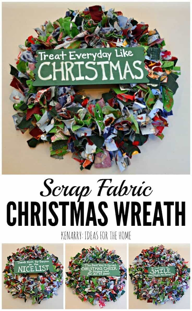Upcycle old pajama pants or use scraps of colorful fabric to create a fun, festive and easy Scrap Fabric Christmas wreath plus more handmade gift ideas for the holidays.