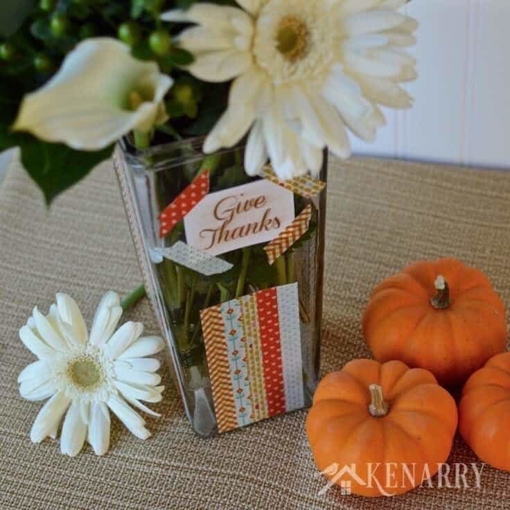 How to make a washi tape vase for Thanksgiving plus learn where you can get tons of other washi tape ideas.