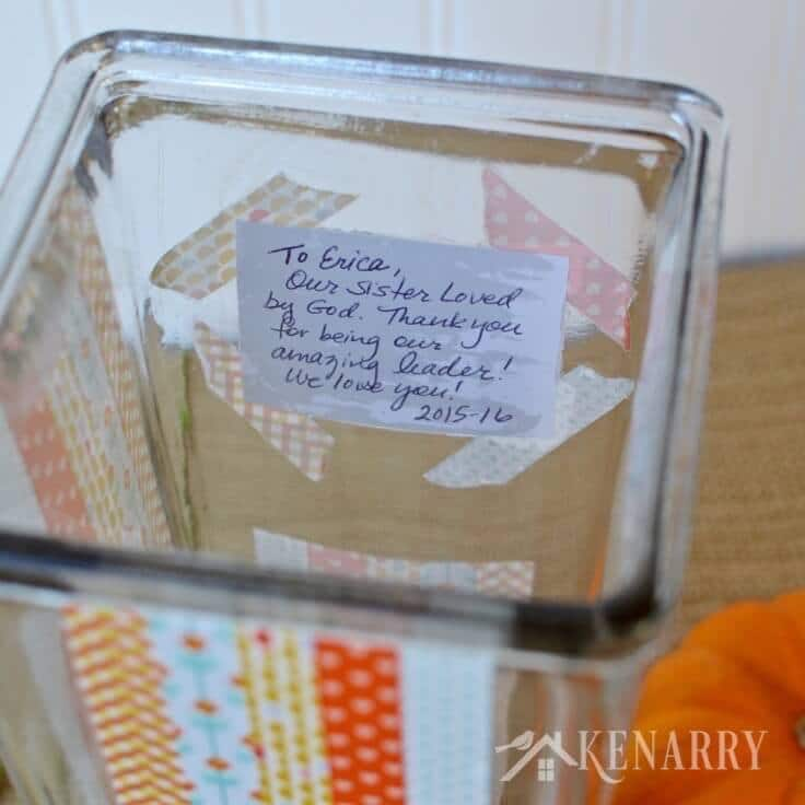 A personal note inside a DIY Thanksgiving vase decorated with washi tape