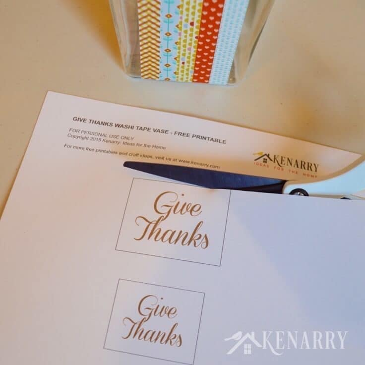 Cutting the give thanks message for your Thanksgiving vase.