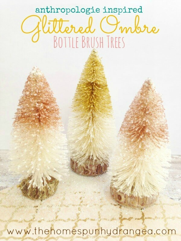 DIY Anthropologie Inspired Ombre Bottle Brush Trees – The Homespun Hydrangea featured at Think and Make Thursday on Kenarry.com