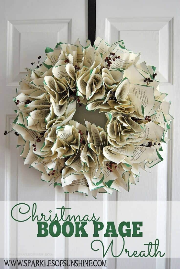 Christmas Book Page Wreath – Sparkles of Sunshine featured at Think and Make Thursday on Kenarry.com