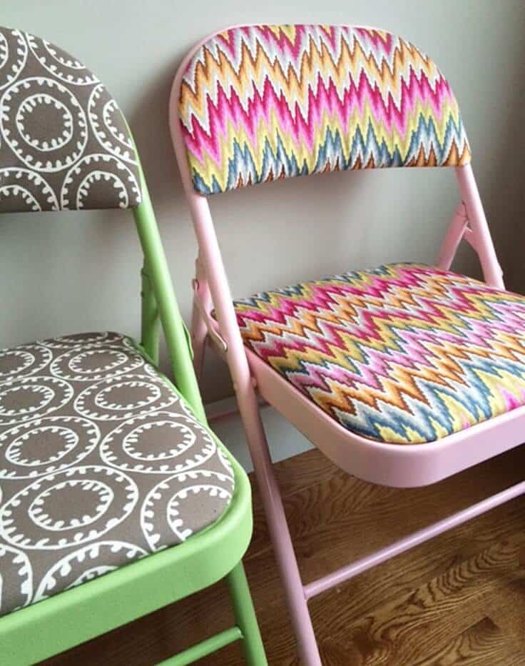 refinished folding chairs with fun fabric and colorful spraypaint