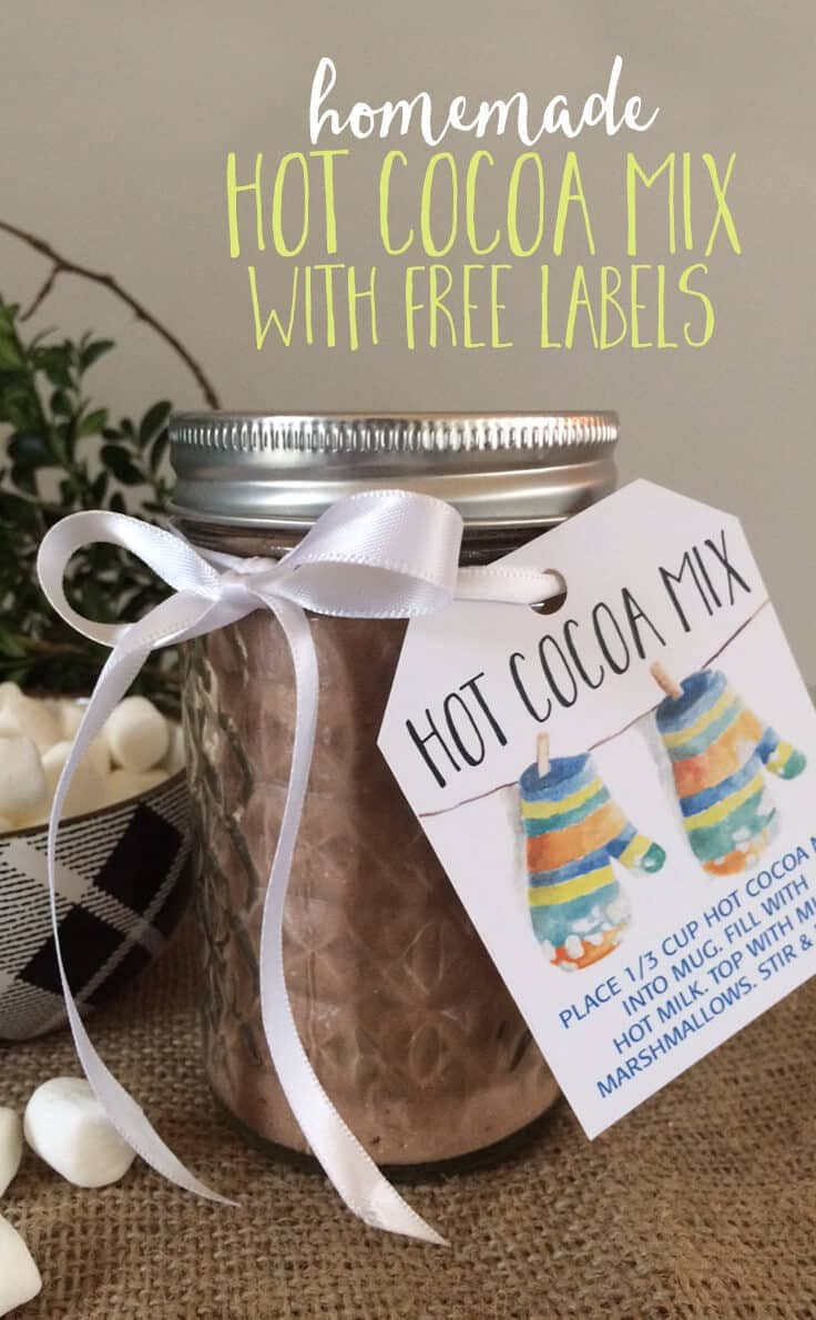 This homemade hot cocoa mix recipe in a jar makes a great DIY Christmas gift idea plus there are free printable labels with mittens for winter. You can also make a big batch to serve at a party. #hotcocoa #hotcocoabar #kenarry
