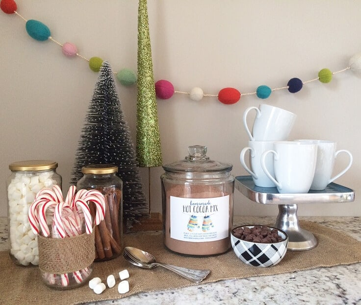 hot cocoa bar with homemade recipe, marshmallows, candy canes and cinnamon sticks