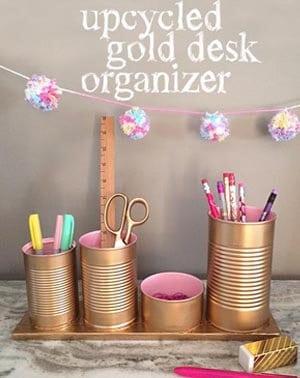 upcycled desk organizer
