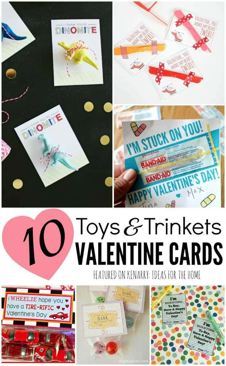 Love these great ideas for kids valentine cards that don't involve candy! 10 clever ways for using toys and trinkets for Valentine's Day party treats for school instead.