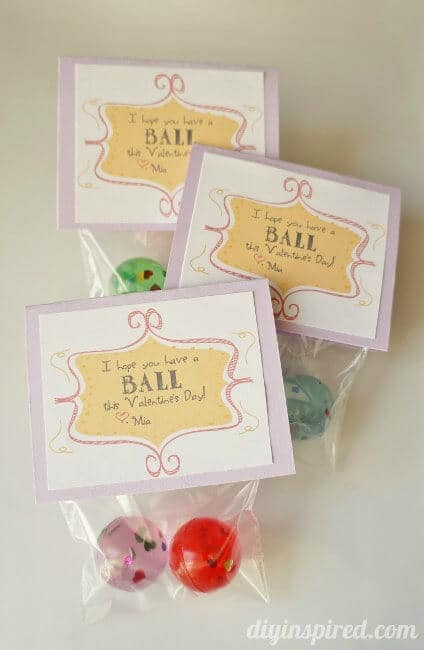 Bouncy Ball Valentine Printable - DIY Inspired - Kids Valentine Cards featured on Kenarry.com