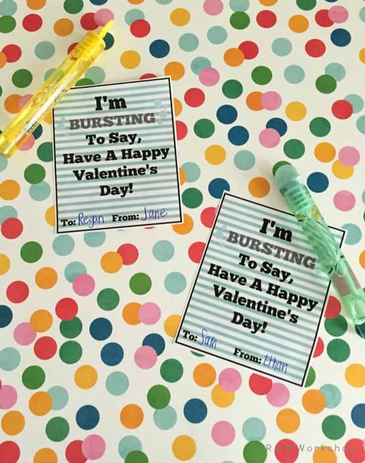 Bubble Valentine Idea and Printable Tag - R&R Workshop - Kids Valentine Card Idea featured on Kenarry.com
