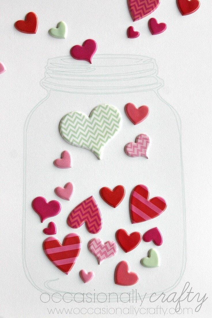 Mason Jar Valentine with Stickers